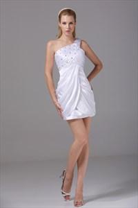 Short One Shoulder Homecoming Dress, White One Shoulder Cocktail Dress