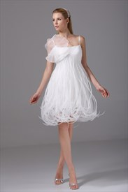 Short Organza Wedding Dress,Spaghetti Strap Empire Waist Wedding Dress