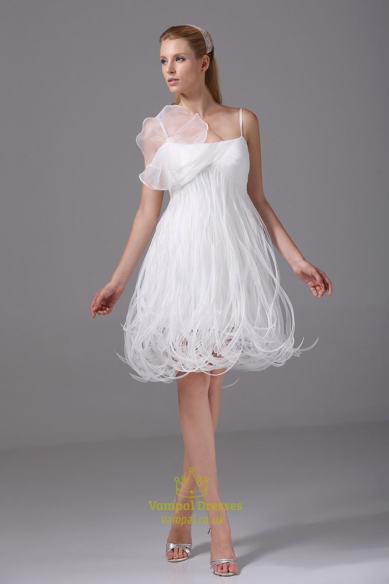 b870f339f6dd Short Organza Wedding Dress,Spaghetti Strap Empire Waist Wedding Dress SKU  -CF131