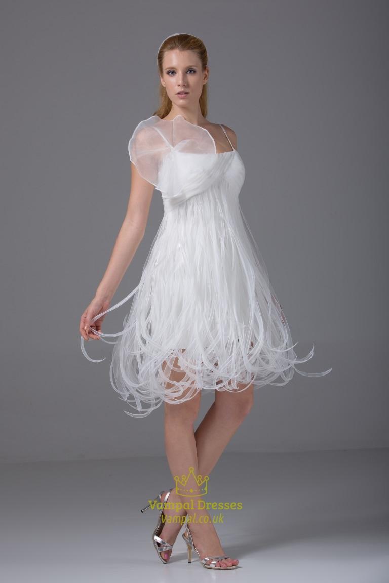 short organza wedding dressspaghetti strap empire waist With empire waist short wedding dress