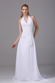 V Neck Halter Wedding Dress, White Chiffon Halter Wedding Dress
