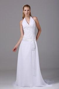V Neck Halter Wedding Dress, White Chiffon Halter Wedding Dress