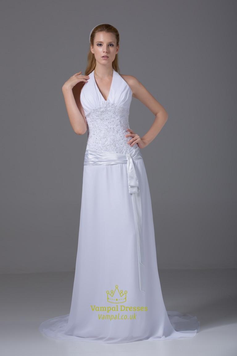 V neck halter wedding dress white chiffon halter wedding for White chiffon wedding dress