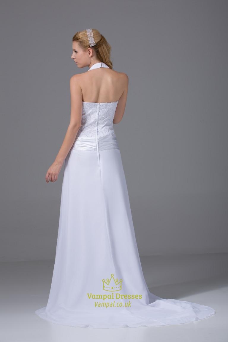 V Neck Halter Wedding Dress White Chiffon Halter Wedding