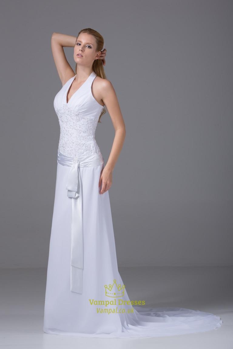 v neck halter wedding dress white chiffon halter wedding With white halter wedding dress
