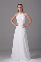 Ivory Empire Waist Chiffon Wedding Dress, Long Chiffon Wedding Dresses