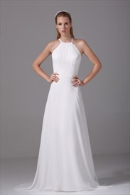 Ivory Empire Waist Chiffon Wedding Dress, Long Chiffon Wedding Dresses