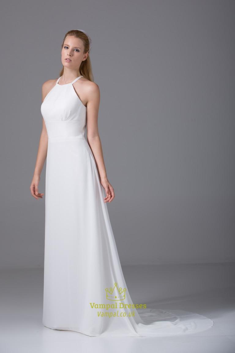 Ivory empire waist chiffon wedding dress long chiffon for Empire wedding dresses uk
