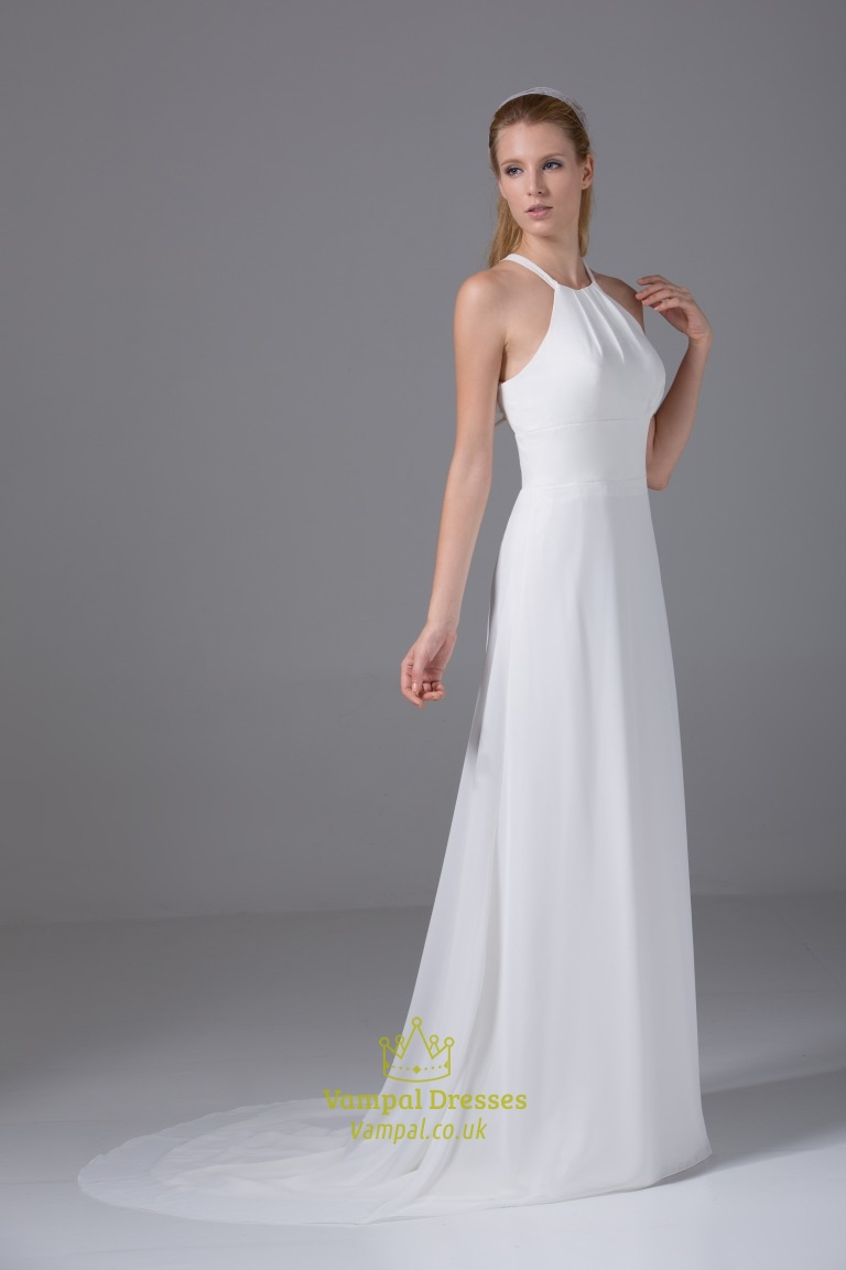 ivory empire waist chiffon wedding dress long chiffon