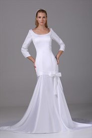 Satin Wedding Dresses With Long Sleeves, Satin Mermaid Wedding Dresses