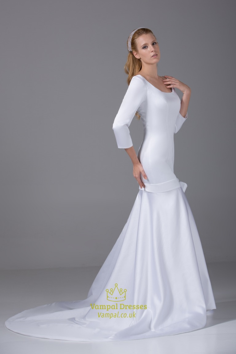 Satin wedding dresses with long sleeves satin mermaid for Wedding dresses with sleeves uk