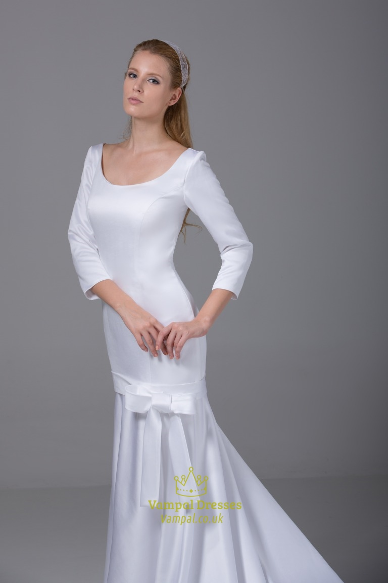 Satin Wedding Dresses With Long Sleeves, Satin Mermaid ...