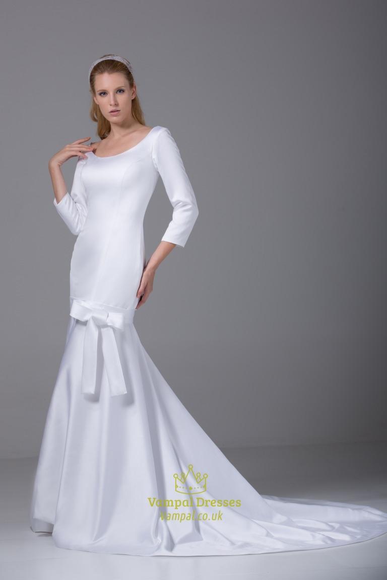 Satin wedding dresses with long sleeves satin mermaid for Long silk wedding dress