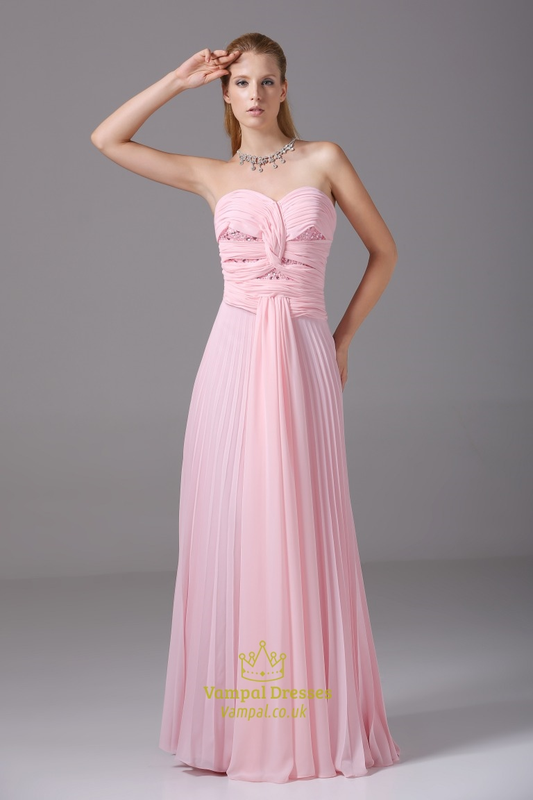 Light Pink Chiffon Embellished Bustier Dress Sweetheart