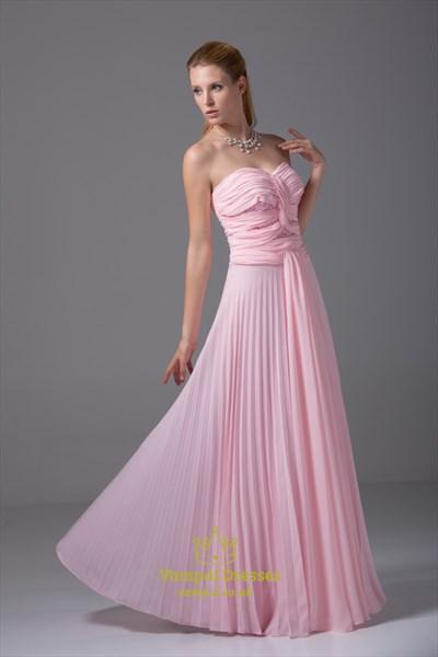 Pink Chiffon Embellished Bustier Dress, Sweetheart Chiffon Prom Dress