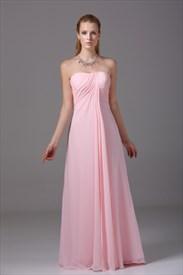 Long Pink Chiffon Bridesmaid Dress, Strapless Chiffon Bridesmaid Dress