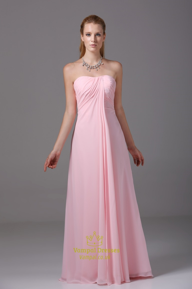 Long Pink Chiffon Bridesmaid Dress Strapless Chiffon