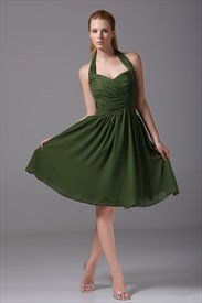 Short Hunter Green Prom Dress, Short Chiffon Halter Bridesmaid Dress