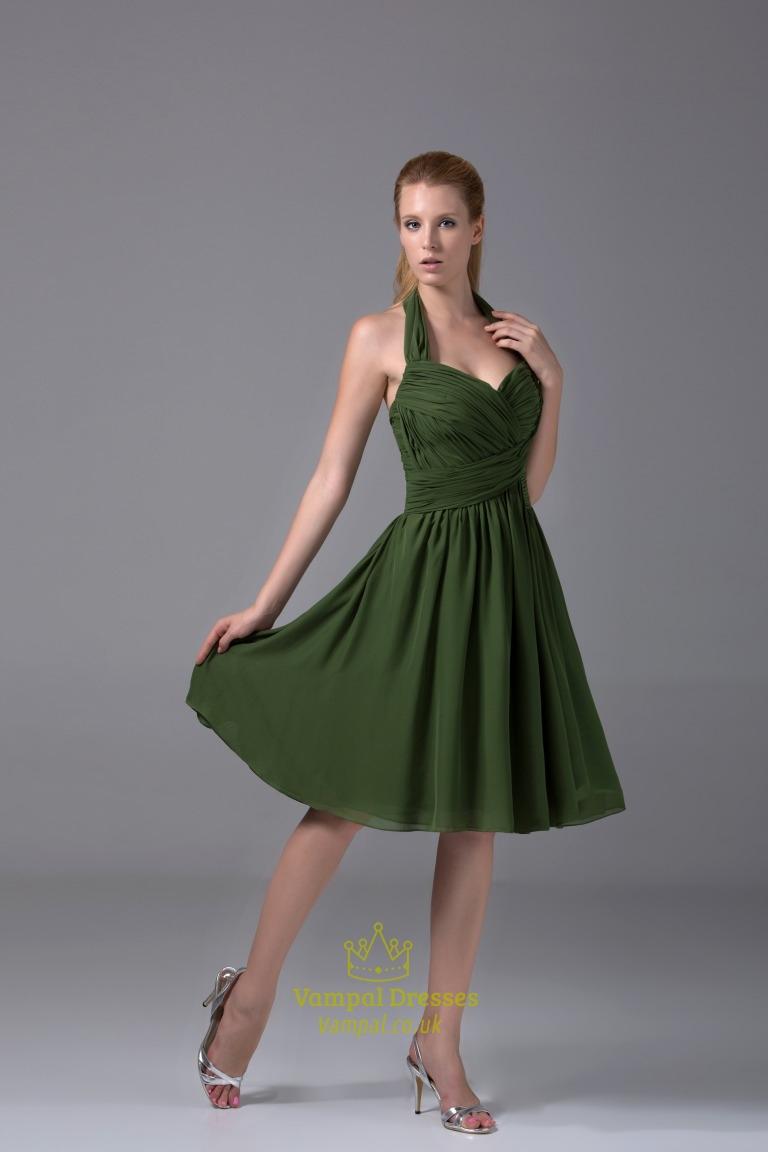 Short Hunter Green Prom Dress, Short Chiffon Halter Bridesmaid Dress ...