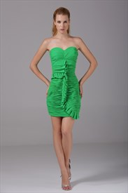 Green Chiffon Cocktail Dress, Short Strapless Sweetheart Prom Dress