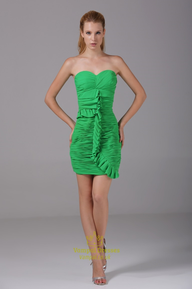 Green Chiffon Cocktail Dress Short Strapless Sweetheart