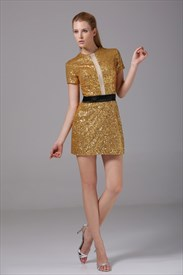 Short Sleeve Sequin Mini Dress, Short Gold Sequin Homecoming Dresses