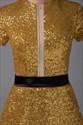Short Sleeve Sequin Mini Dress, Short Gold Sequin Homecoming Dresses