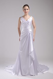 A Line Princess V Neck Chapel Train Wedding Dress,V Neck Wedding Dress