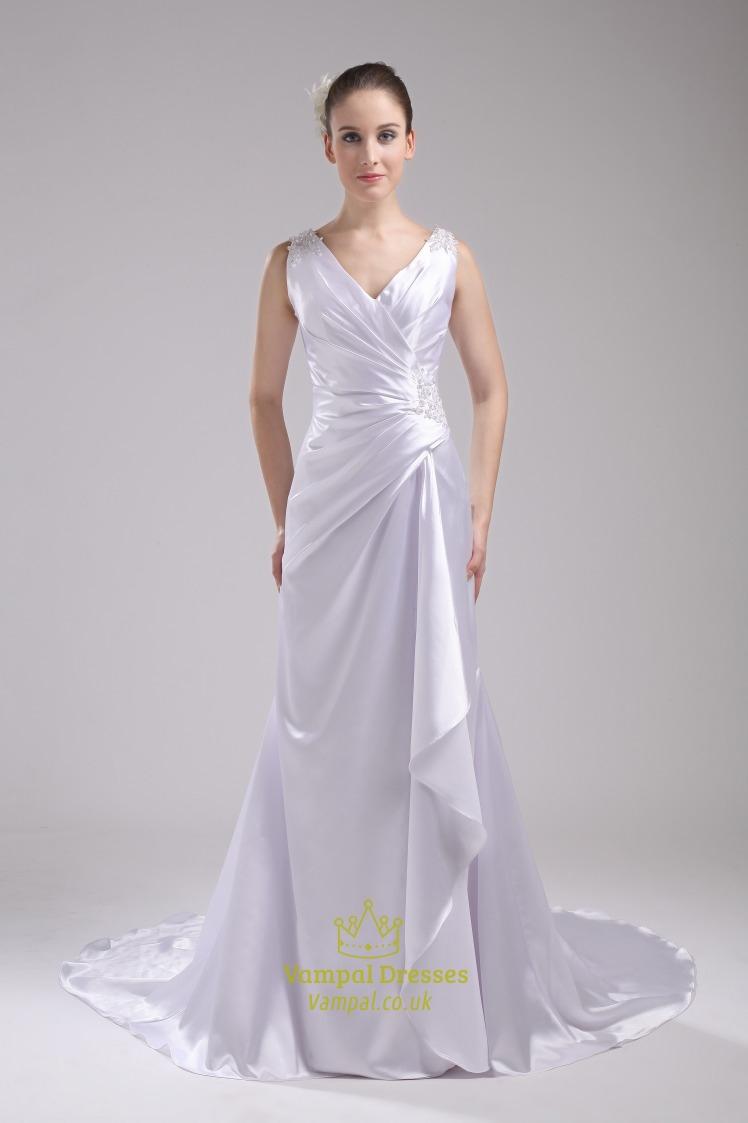 A line princess v neck chapel train wedding dress v neck for Wedding dresses chapel train