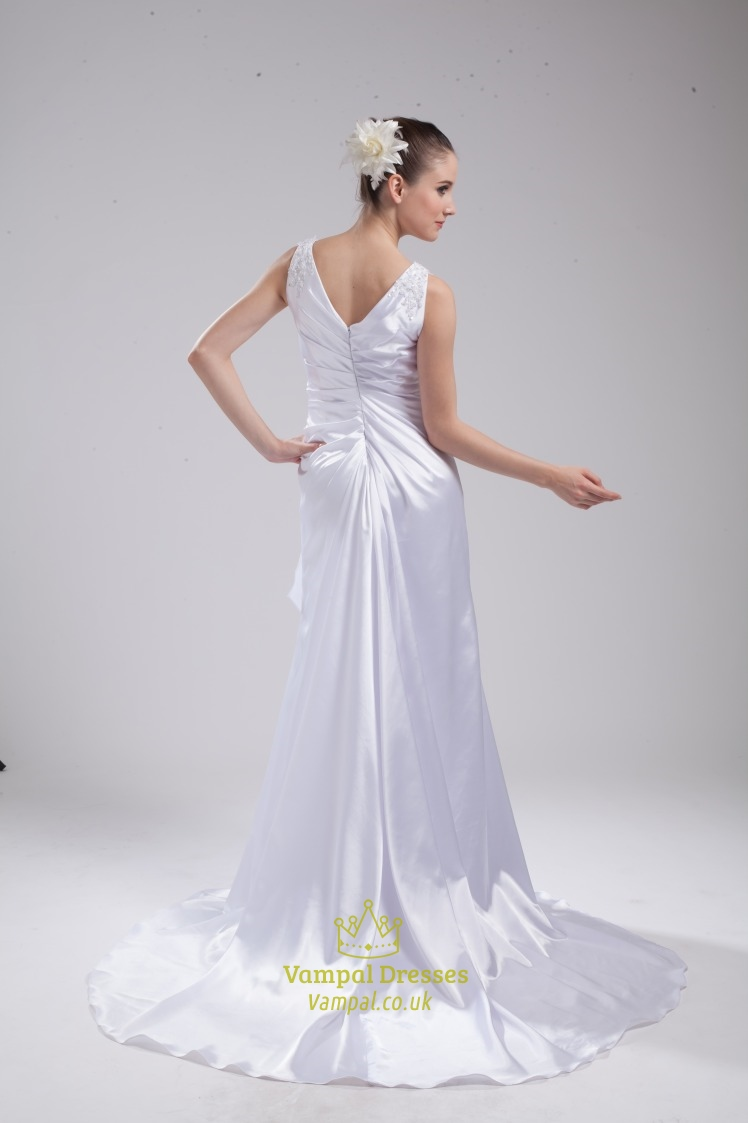 A Line Princess V Neck Chapel Train Wedding Dress V Neck