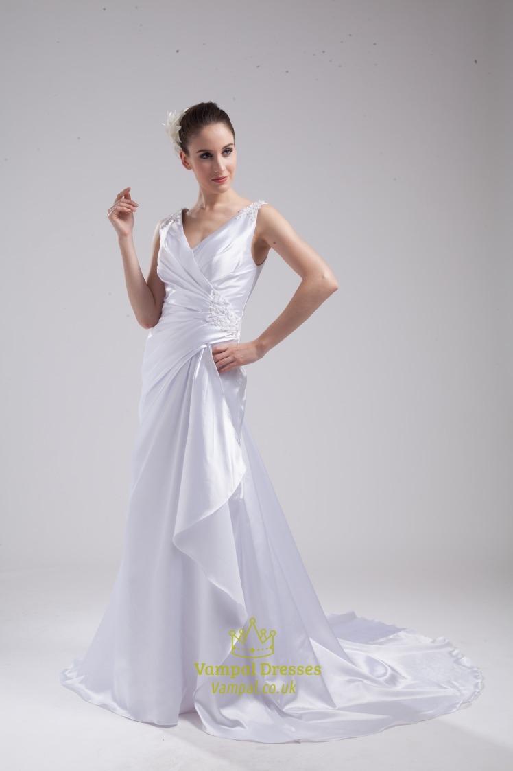 A line princess v neck chapel train wedding dress v neck for Chapel train wedding dresses