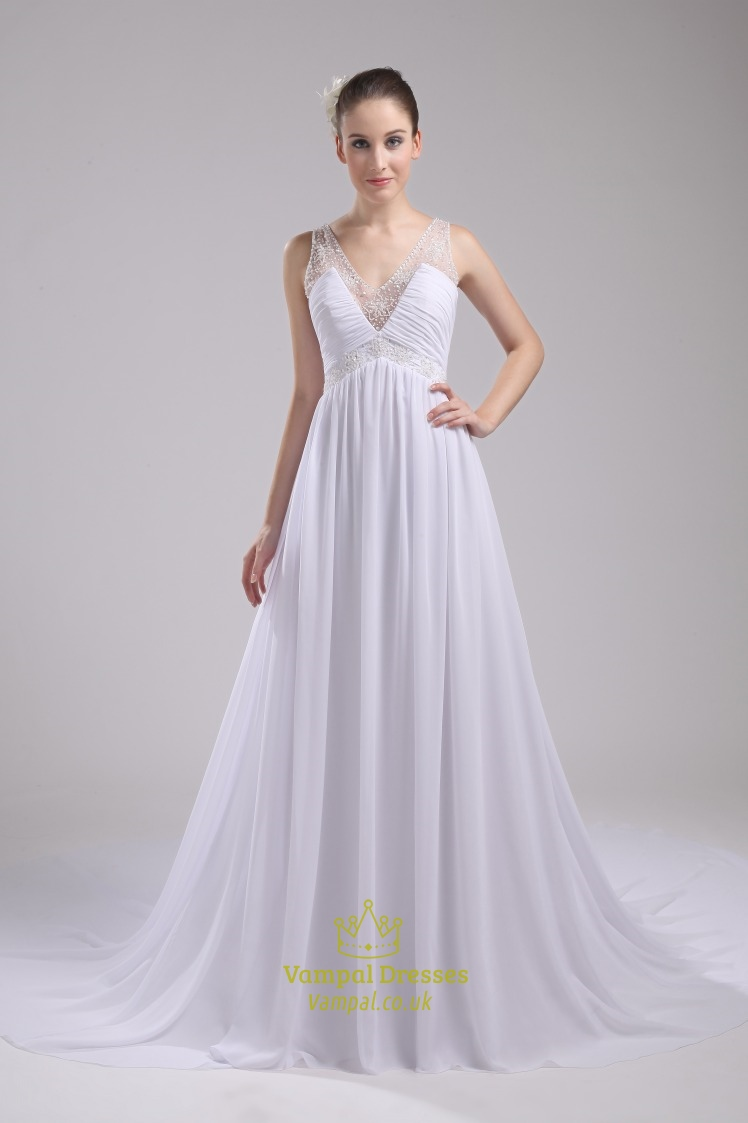 Long white chiffon wedding gown a line v neck long for A line chiffon wedding dress