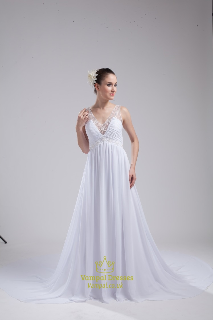 Long White Chiffon Wedding Gown A Line V Neck Long