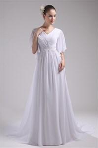 Prom Dresses With Chiffon Sleeves, Floor Length Chiffon Evening Dress