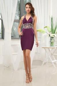 Eggplant Plus Size Cocktail Dresses, Short Purple Halter Prom Dresses
