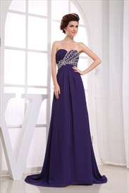 Purple Chiffon Empire Waist Dress, Long Chiffon Evening Dresses UK