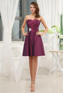 Eggplant Purple Dress Pleated Bust, Cute Short Purple Homecoming Dress