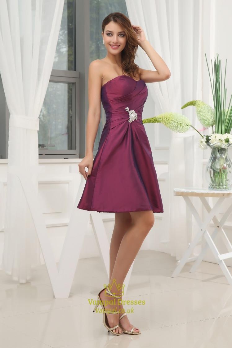 eggplant purple dress pleated bust cute short purple