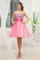 Hot Pink Short Strapless Prom Dresses, Hot Pink Semi Formal Dresses