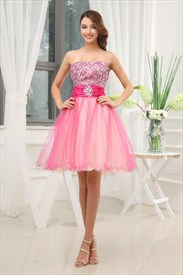 Hot Pink Short Strapless Prom Dresses, Hot Pink Semi Formal Dresses
