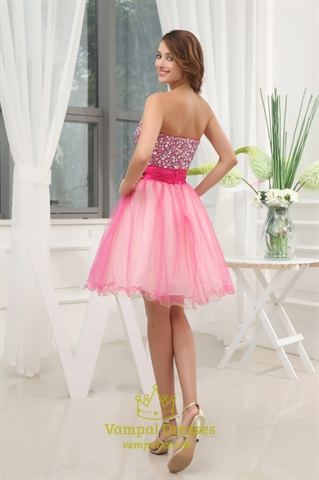 Hot Pink Short Strapless Prom Dresses, Hot Pink Semi