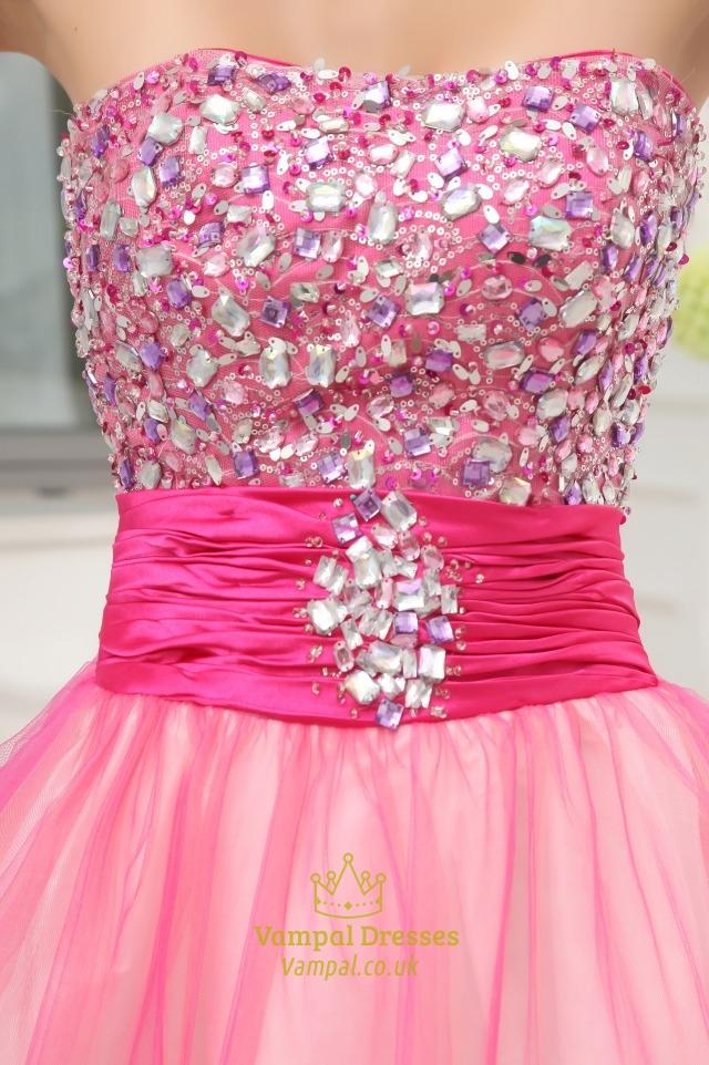 Hot Pink Short Strapless Prom Dresses Hot Pink Semi