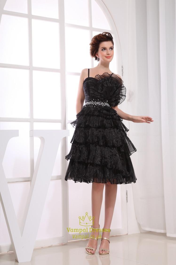 Black Spaghetti Strap Cocktail Dress, Short Tiered Prom Dresses ...