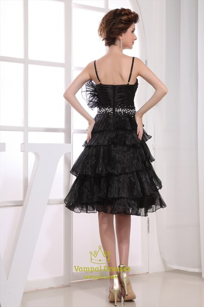 Black Spaghetti Strap Cocktail Dress, Short Tiered Prom Dresses