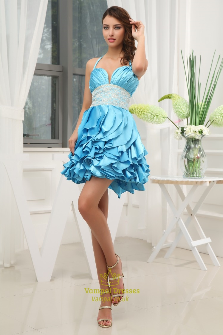 Aqua Blue Short Prom Dresses, Short Ruffle Homecoming Dress | Vampal ...