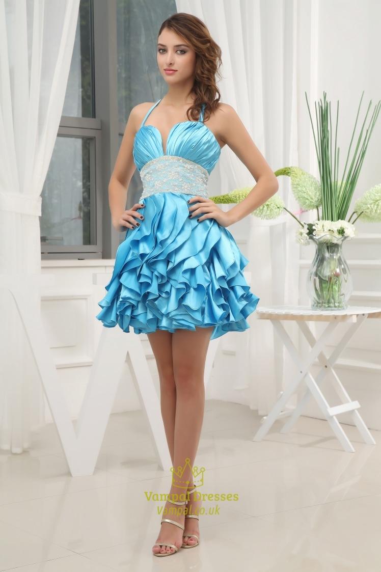 Aqua Blue Short Prom Dresses, Short Ruffle Homecoming Dress | Vampal ...