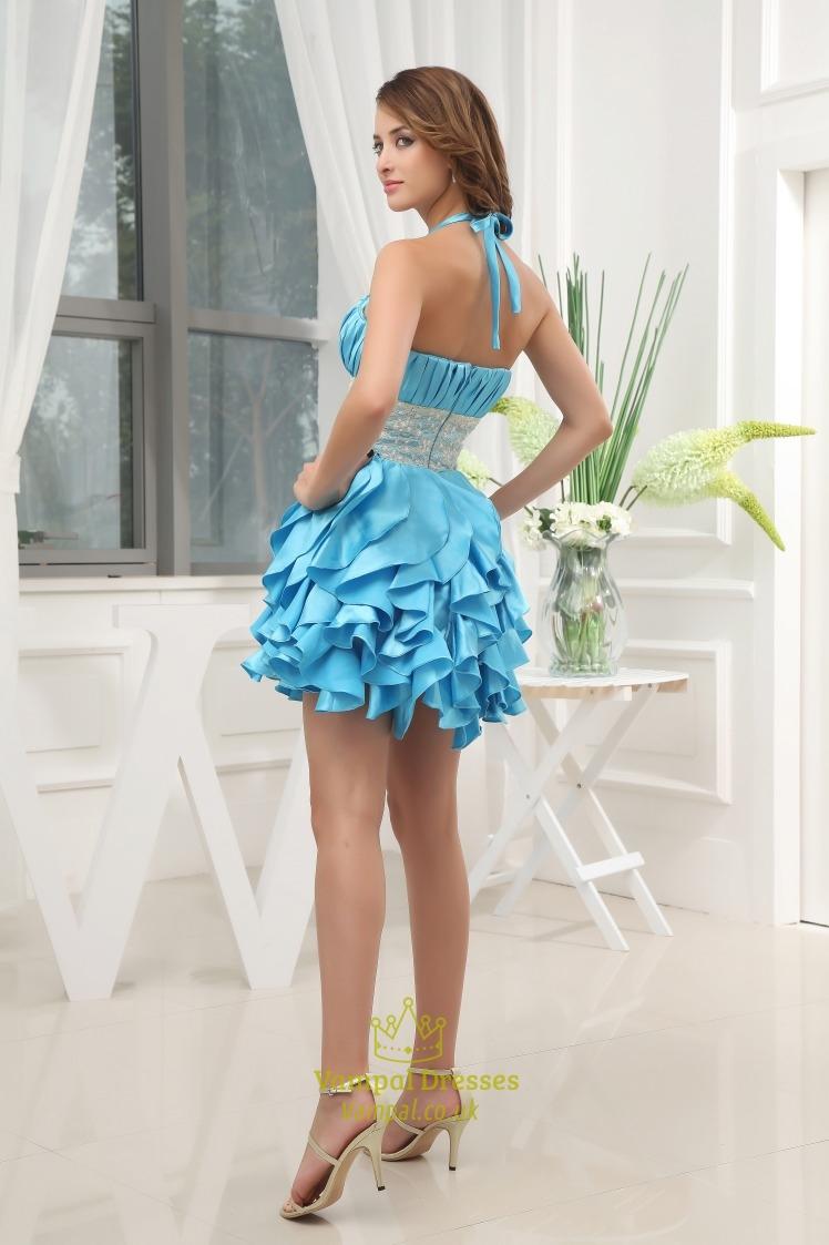 Aqua Blue Short Prom Dresses Short Ruffle Homecoming