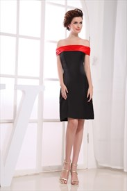Black And Red Strapless Cocktail Dress,Off The Shoulder Cocktail Dress