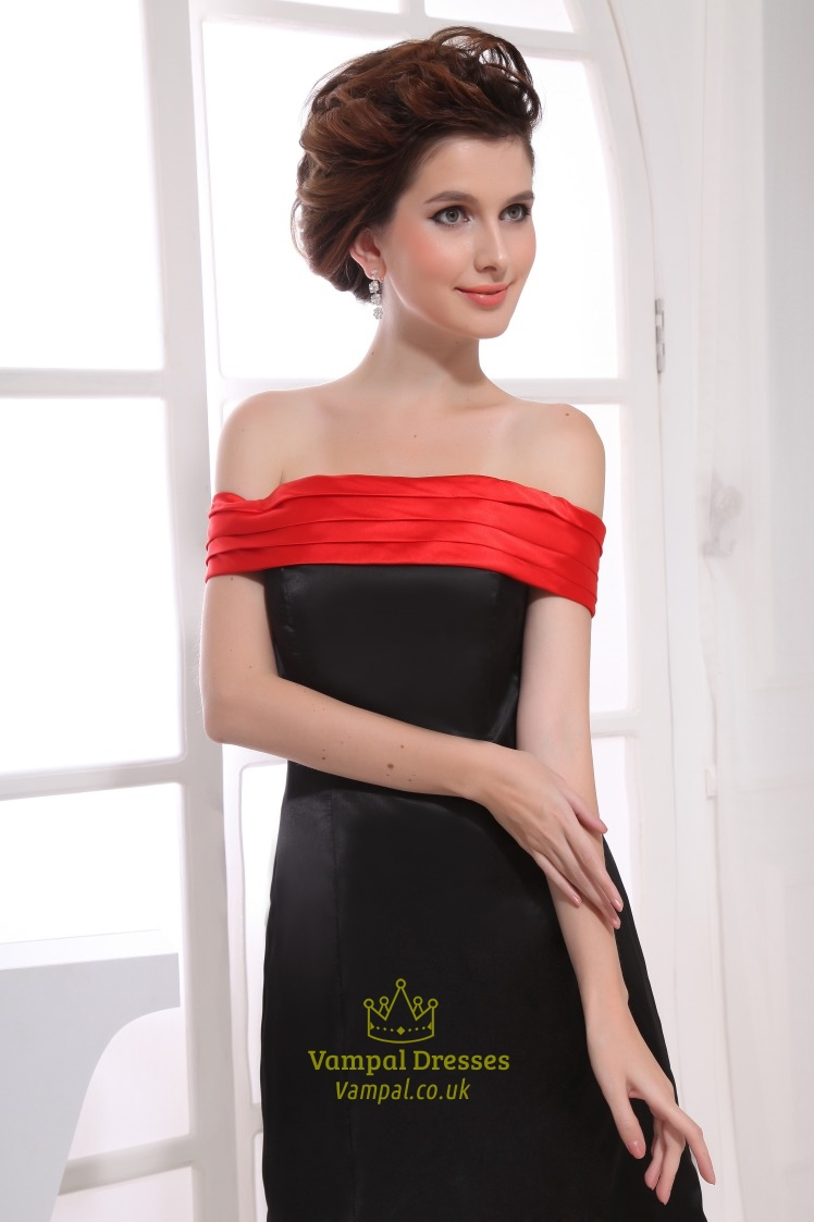 Black And Red Strapless Cocktail Dress Off The Shoulder