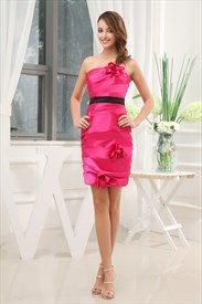 Hot Pink Short Strapless Prom Dress, Hot Pink And Black Cocktail Dress
